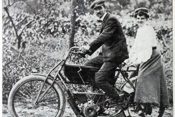 1904 Mr and Mrs George Curtiss on son Glenns V-twin